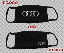 "Audi Face Mask Audi Rings Logo Unisex Black White Cotton 4"" Or 2"""