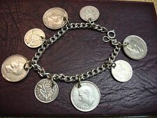 BRITISH COIN BRACELET 3 PENCE 1920 & UP NICE PC OF HISTORY  ENJOY