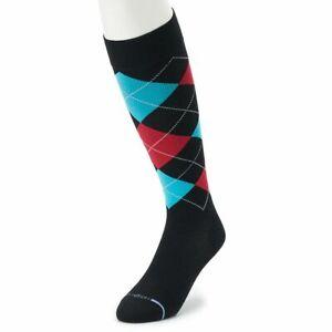 Dr. Motion Compression Socks Argyle 8 - 15mmHg Knee Hi Black Blue Men 10 - 13