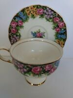 "RARE PARAGON ""OLD ENGLISH GARDEN"" WIDE MOUTH TEA CUP AND SAUCER"