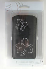 Black Jazz Flower Leather Pouch for Apple iPhone 5/5S by GRESSO New in Box