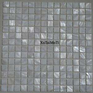 White square shell mosaic tile mother of pearl kitchen backsplash bathroom
