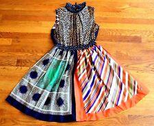 $770 D&G Dolce & Gabbana Striped Floral Dot Combo Silk Scarf Dress US 2 4 /IT 40