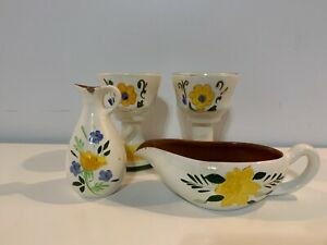 """Vtg Pottery Hand Painted """"Country Garden"""" Gravy Boat Pitcher & Pair of Goblets"""