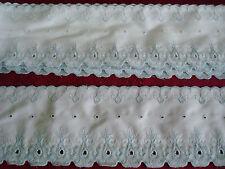 """12 Yds.~Vintage 4"""" White & Light Blue EYELET LACE~TRIM~Both Edges Finished"""