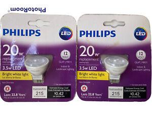 2 Philips MR11 LED Light Bulb Bright White Indoor/Outdoor Flood 20W Landscape