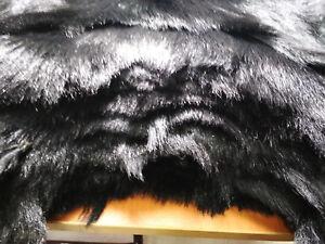 BLACK   HAIR ON MINIATURE GOAT HIDES PELT  ½#£ LONG HAIR