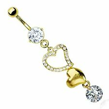 Belly Button Ring Navel Gold Plated Heart CZ Solitaire Body Jewelry 14 Gauge