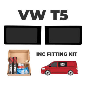 2 x VW T5 Transporter FIXED Side Windows WITH FITTING KIT, T5 windows 2003-2020