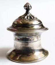 Petit pot à crème onguent en argent massif Ancien svastika silver