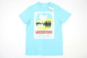 WOODSTOCK BLUE SMALL VINTAGE RETRO 60'S HIPPY PEACE LOVE MUSIC TSHIRT MENS NWT