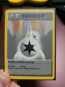 Double Colourless Energy 96/102 Shadowless Old School Pokemon in sleeve Played