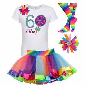 Candyland Lollipop 6th Birthday Girl Shirt Rainbow Tutu Outfit Socks Name Bow 6