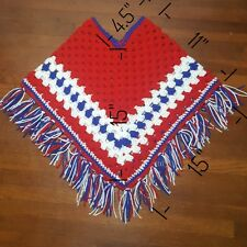 Handmade Crochet Poncho Red White Blue Tassels Warm Gift Holiday Child