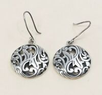 Vintage Sterling Silver Handmade Earrings, 925 Silver Dangles W/ Bali Filigree