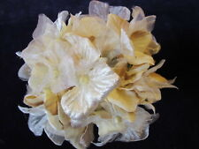 Millinery Flower Hydrangea Ivory Tan Beige Velvet + Chiffon for Hat + Bride Y262