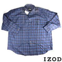 NTW Izod Mens 3XL Big and Tall Long Sleeve Button Down Plaid Cotton Shirt Blue