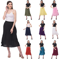 Women Ladies Skirt Rayon Gauze Summer Midi Skirt Elastic High Waist Solid Skirts