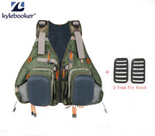 Fishing Vest Pack Muiti-pockets Fly Backpack Adjustable Size Mesh 2 Foam Patches