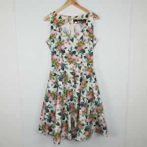 Revival Dangerfield Women's Dress Floral Fit and Flare Circle Heart Neck Size 12