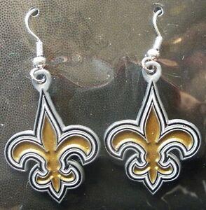 Earrings New Orleans Saints NFL Surgical Hoop Steel Pierced