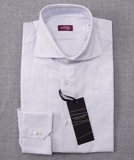 NWT $375 SARTORIA PARTENOPEA White-Blue Check Cotton Dress Shirt Slim 16 x 35