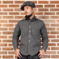 Bronson 1930s SALT & PEPPER Chambray Work Wear Shirt Vintage Long Sleeve Shirt
