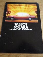 TALBOT SOLARA  SALES BROCHURE 1980   jm