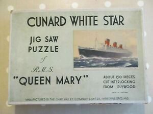 VINTAGE WOODEN CHAD VALLEY CUNARD WHITE STAR JIGSAW PUZZLE QUEEN MARY INCOMPLETE