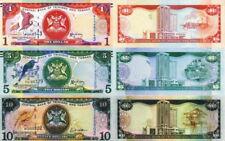 TRINIDAD & TOBAGO - Lot Lotto 3 banconote 1/5/10 dollars FDS - UNC