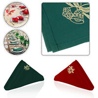 XMAS RED GREEN TABLE NAPKIN CHRISTMAS DINNER TABLE DECOR JINGLE BELL EMBROIDERED