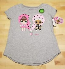 LOL Surprise Dolls Glow in the Dark Girls Grey Short Sleeve T-Shirt NWT XL 14/16