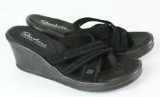 "Skechers size 9 black wedge flip flop sandal toe ring strappy 3"" heel thong"