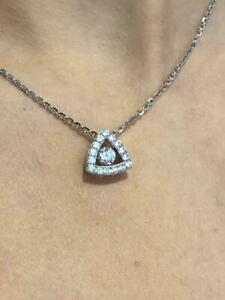 "Platinum Sterling Silver White Sapphire ""Dancing Diamond"" Trillion Halo Necklace"