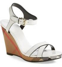 BURBERRY RASTRICKSON WHITE LEATHER CHECK WEDGE SANDAL SIZE 38.5 $600