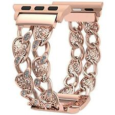 Apple Watch Band 38mm Rose Gold Women Men, Bling Cowboy Chain IWatch Replacement