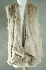 NEW 100% RABBIT FUR DRAPE FRONT LONG VEST Bone Free Size