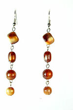 ELEGANT LADIES BROWN STONE MULTI LAYER EARRINGS BRAND NEW UNIQUE (A22)