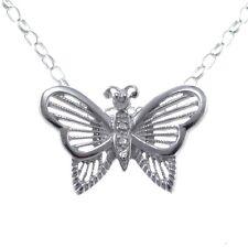 Argento Sterling & Diamante Ciondolo a farfalla collana con 45.7cm Catenina &