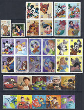 US Disney Stamp Lot (32 total) - 1968-2012 - Singles, Blocks, Strips - MNH