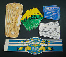 LOT 50 ETIQUETTES SAVON PARFUM PARFUMERIE CITRON PARIS SCRAPBOOKING SOAP LABELS