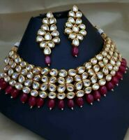 Indian Bollywood Red Pearl Kundan Choker Necklace Earrings Fashion Jewelry Set
