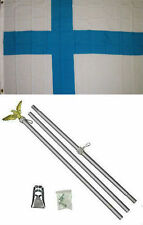 3x5 Finland Flag Aluminum Pole Kit Set 3'x5'