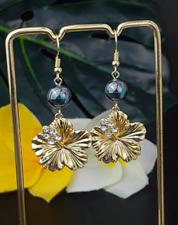 Hibiscus cz black pearl earrings