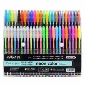 Gel Pens Set 48 Colors Glitter Gel Pen for Adult Coloring Books Journals Drawing