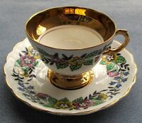 Vintage Rosina China England Porcelain Floral w Heavy Gold Tea Cup and Saucer