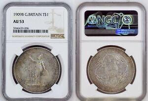1909-B Great Britain Trade $ NGC AU53