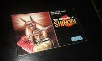 ONLY MANUAL revenge of shinobi 1989 sega megadrive Instruction manual PAL good