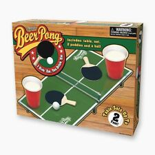 Beer Pong Drinking Party Game Set Kit: Miniature Table w/Net, Paddles & Ball NEW
