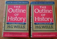 THE OUTLINE OF HISTORY by H.G. Wells - VOL 1&2, 1961 VG *FREE SHIPPING*